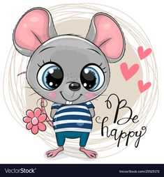 Cute Cartoon Mouse with flowers. Greeting card Cute Cartoon Mouse with flowers stock illustration Cartoon Cartoon, Kids Cartoon Characters, Cute Cartoon Animals, Cute Cartoon Girl, Cute Baby Animals, Cute Animal Drawings, Cute Drawings, Cartoon Mignon, Art Mignon