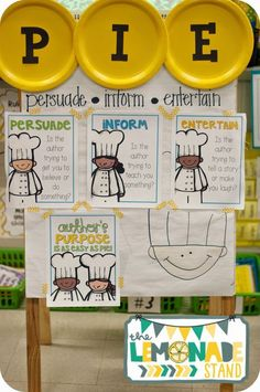Author's Purpose is as Easy as PIE! {FREEBIE} Fun, engaging activity in which your students will get to dress up as author's purpose chefs! Anchor Charts First Grade, Kindergarten Anchor Charts, Writing Anchor Charts, In Kindergarten, 2nd Grade Ela, Third Grade Reading, Second Grade, Grade 2, Teaching Writing