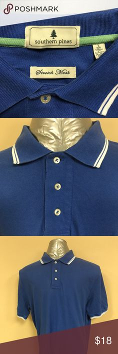 """Southern Pines stretch mesh golf shirt Southern Pines stretch mesh (96% cotton/ 4% spandex) golf shirt.  Smart looking white pipine on the collar and sleeves. No blemishes.  The measurement from the back of the collar to the hem is 34"""" and the measurement from armpit to armpit is 24"""". Southern Pines Shirts Polos"""
