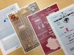 Explorer infographics. Students collect explorer data and share in an infographic