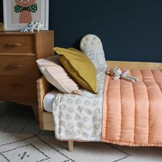 Single bed hand quilted blanket and bedding all by Camomile london