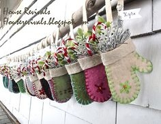 """Mitten """"grandparent"""" ornaments personalized with each grandchild's name.  Easy to make using recycled sweaters.  House Revivals Christmas Love, Winter Christmas, Christmas Gifts, Christmas Projects, Holiday Crafts, Christmas Decorations, Christmas Ornaments, Felt Decorations, Christmas Ideas"""