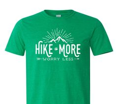 Hike More Worry Less T-shirt - Outdoorsman, adventure, camping, outdoors, hiking, arrows, mens or womens shirt