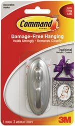 3M Command Traditional Medium Hook W/ Adhesive 1/Pkg-Brushed Nickel; 3 Items/Order by 3M. $7.99. Made in CN. Weight: 0.04 ounces. Dimensions: 6.75 in. h x 3.85 in. w x 1.5 in. d. 3M-Command Traditional Medium Hook: Brushed Nickel. Command adhesive strips hold on strongly but come off cleanly leaving no damage or residue! This package contains one medium metal hook with a brushed nickel finish (3x1x1-1/2in); two medium Command adhesive strips; and instructions for adhe...
