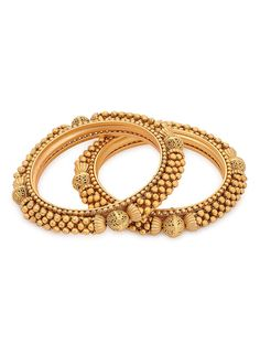Buy Golden Classic Gold polished Bangles (Bangle Size 2/6) (Set of 2) Metal Alloy Fashion Jewelry Cuffs/Bracelets/Bangles For Those Festive Evenings kundan inspired with gemstones Online at Jaypore.com India Jewelry, Pearl Jewelry, Gold Jewellery, Bridal Jewelry, Jewelery, Jewellery Designs, Ring Designs, Gold Bangles Design, Gold Bangle Bracelet