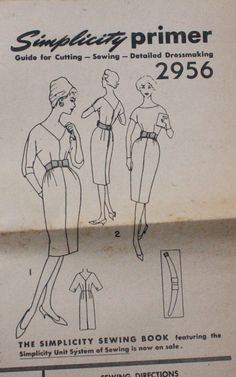 Simplicity 2956 1950s 50s Wiggle Dress Raglan by EleanorMeriwether, $5.00