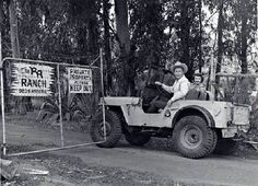 Roy Rogers' ranch in Chatsworth, CA 1957 More than four decades after Roy Rogers and Dale Evans moved away from the San Ferna. Jeep Willys, Jeep Cj, Warriors Standing, Dale Evans, Roy Rogers, Old Shows, Happy Together, Happy Trails, Classic Trucks