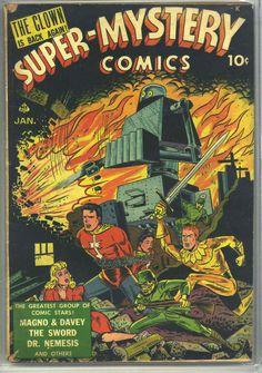 Comic Book Cover For Super-Mystery Comics - Version 1 Comic Book Covers, Comic Books, Man Of Mystery, Ace Comics, Jr Art, Comic Book Superheroes, Classic Comics, American Comics, Album