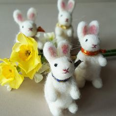Handmade Easter gift, set of 4 needle felt bunny rabbits, hand carded wool present, Spring gift set of rabbit ornaments, Mothers Day present