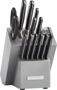 KitchenAid - Classic KKFTR14SL 14-Piece Knife Set - Silver. Knife set Includes 6 steak knives, chef's knife, bread knife, paring knife, utility knife, knife sharpener and santoku knife.   Stainless steel blades Help ensure precise, accurate cuts.   Storage block Makes it easy to store the cutlery when not in use.   Dishwasher-safe yes Allows simple cleanup.