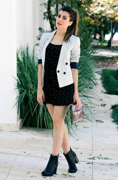 Black n white outfit wid ankle boots
