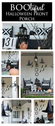 Front Porch decked out for Halloween. While the Halloween Front Porch decor feels spooky, it remains sophisticated with classic touches and witch hats.