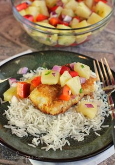 Coconut Cod with Pineapple Salsa | Serve over Mahatma Basmati Rice for a perfectly sweet and savory dinner meal.