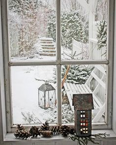 VIBEKE DESIGN - beautiful snow scene from window - antique - prim - period - historic - timeless - classic
