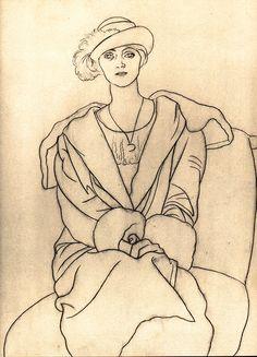Olga en un sombrero con plumas  -  Pablo Picasso ·   1920