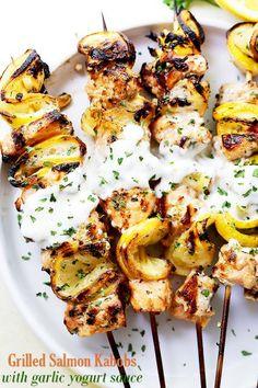 Grilled Salmon Kabobs With Garlic Yogurt Sauce