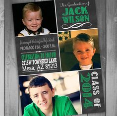 Graduation Announcements Photo Graduation Announcement Class of 2014 High School Graduation Invitation Chalkboard Graduation
