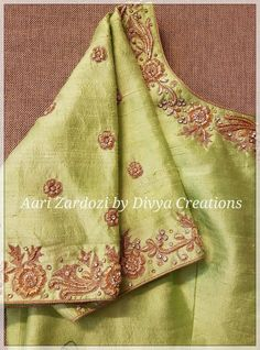 Wedding Dresses Simple Silk Gowns New Ideas Saree Blouse Neck Designs, Fancy Blouse Designs, Bridal Blouse Designs, Zardosi Work Blouse, Hand Work Embroidery, Zardosi Embroidery, Embroidery Designs, Maggam Work Designs, Stylish Blouse Design