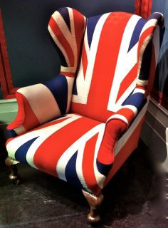Union Jack wing-back armchair