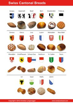 Swiss Breads by Canton Swiss Recipes, Zermatt, Wallis, Bern, Basel, St Gallen, Swiss Miss, Swiss Switzerland, Lucerne