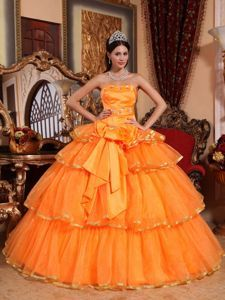 Orange Strapless Ruffles Organza Sweet 15 Dresses with Appliques -$219.65
