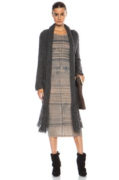 Raquel Allegra Fringe Alpaca Poncho and #Striped Dress + Isabel Marant Andrew Boots via TresChicNow.com