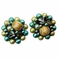 Green Blue Beaded Cluster Earrings Vintage Gold Tone Clip On Japan e682 | eBay
