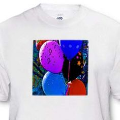 Balloons in a grouping with notes of music in purple, blue and black T-Shirt