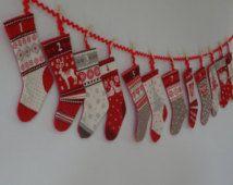 Scandi stocking advent Calendar, Kids advent calendar, Bunting advent calendar, Christmas advent calendar, Reusable advent calendar, Advent