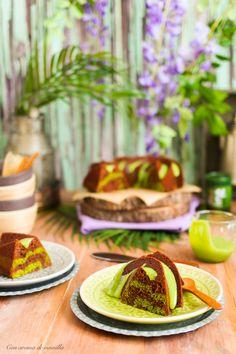Bundt cake marmolado de chocolate y té matcha