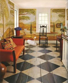Prim...19th c. Rufus Porter murals and painted wooden floor.