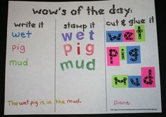 A fun activity to reinforce CVC and word wall words. Great for a writing center or Daily 5. Empowers students and frees up the teacher. FREE 7-page packet.