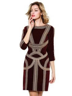 COLOR BLOCK STYLE PATCHWORK SLIM MIDI DRESS Price: $ 79.00  Pattern: Colorblock, patchwork Decoration: Embroidery Sleeve Length: Three Quarters Style: Pleated, colorblock, bodycon Length: Midi Collar Type: Oneck Material: Polyester Colours: Varies Sizes: Varies http://dominionwallweb.com/women%20gown.html