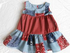 Baby Girl Ruffle Dress-Bandana Patchwork by DiMaDaisyBoutique
