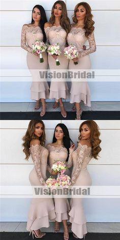 Charming Mermaid Off-Shoulder Long Sleeves Lace Top Bridesmaid Dresses, Beautiful Bridesmaid Dresses, VB0903 #bridesmaids #bridesmaiddresses