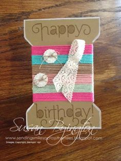 Sending Smiles Across The Miles: Spool Card using Age Awareness stamp set and Thick Baker's Twine. All products by Stampin' Up!