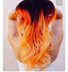 Fiery Hair Color Orange Hair Yellow Hair Hair Painting By Toni .: Fiery Hair Color Orange Hair Yellow Hair Hair Painting by Toni orange… Mod's Hair, Dye My Hair, New Hair, Blonde Hair, Blonde Brunette, Cool Hair Dyed, Wavy Hair, Ombre Hair Color, Cool Hair Color