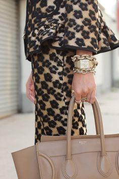 Celine bag, stacked bracelets.