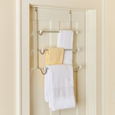 The Over-the-Door Towel Rack makes it much easier to tidy up your bathroom. This Over-the-Door Towel Rack is not only sleek and stylish, it is just plain practical. Use it to help straighten up your bathroom.