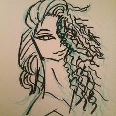 Inked version of the curly haired girl #sketch I posted earlier.  #myart #illustration #drawing #art