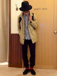 ikka 名取店|ナカジさんのステンカラーコート「フードステンカラーハーフコート(ikka|イッカ)」を使ったコーディネート