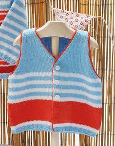 Revista bebé 68 Primavera / Verano | 38: Bebé Chaleco | Azul celeste / Blanco / Coral