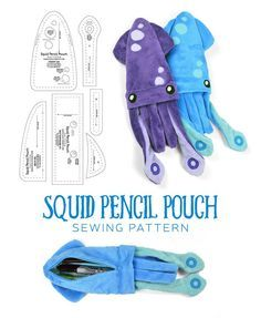Squid Pencil Pouch Sewing Pattern by SewDesuNe with links to more stuffed patternsFree pattern and step by step photo tutorial - kostenlose Schnittvorlage und BildanleitungDIY Pencil Case: How to Make a Pencil Case for School - Pinterpatterns for plu Diy Pencil Case, Pencil Pouch, Pencil Cases, Animal Pencil Case, Sewing Stuffed Animals, Stuffed Animal Patterns, Pinboard Diy, Sewing Crafts, Sewing Projects
