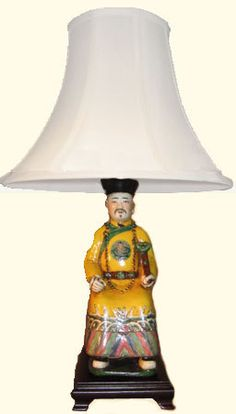 tall Chinese Porcelain Seated Yellow King on Rosewood Stand Asian Lamps, Porcelain Vase, Oriental, Chinese, King, Yellow, Mood, Lighting, Light Fixtures