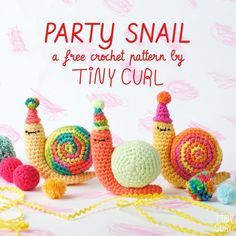 Party Snail a free crochet pattern by Tiny Curl