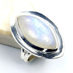 Dazzling Sterling Silver Moonstone Ring, Size 7.5