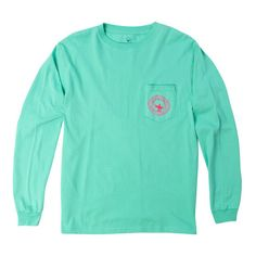 Watercolor Logo Long Sleeve Tee Shirt in Florida Keys by The Southern... ($36) ❤ liked on Polyvore featuring tops, t-shirts, longsleeve t shirts, long sleeve t shirt, long sleeve tee, green long sleeve t shirt and t shirts