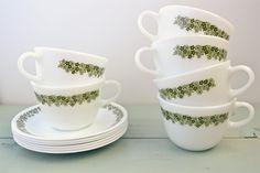 Set of Six Vintage Pyrex Cups & saucers. $25.95, via Etsy.
