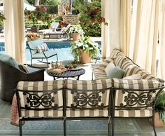 Striped outdoor cushions will up the drama in your outdoor room.