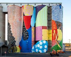 HENSE completes giant grain silos mural in western australia